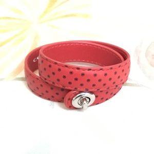 Coach turn lock double wrap leather bracelet